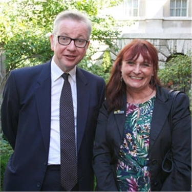 Cats Protection's Jacqui Cuff pictured with Michael Gove in the garden of Number 10 Downing Street