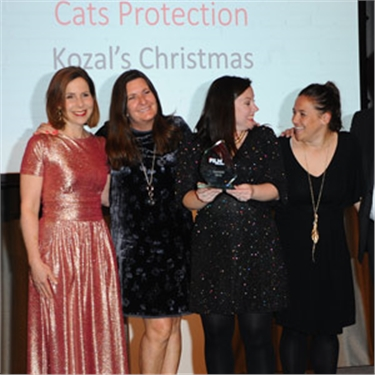 Cats Protection receiving their People's Choice Award at the Charity Film Awards 2019.