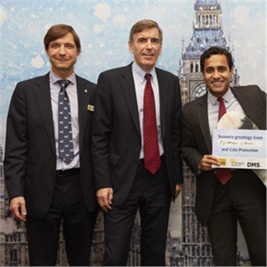 James Yeates, Cats Protection's Chief Executive, David Rutley MP, Parliamentary Under Secretary of State for Food and Animal Welfare, in the Department for Environment, Food and Rural Affairs; and Rehman Chishti MP