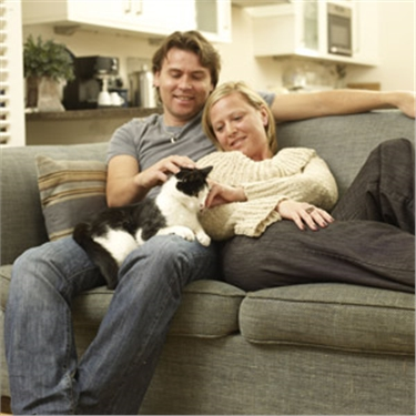 Couple with their cat