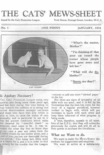 The Cats' Mewsheet January 1931 cover
