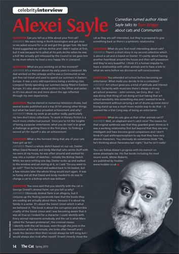 Celebrity interview with Alexei Sayle in The Cat magazine Spring 2010