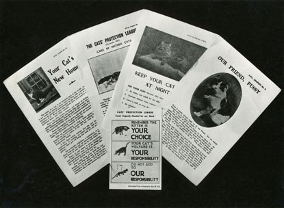 archive Cats Protection League leaflets and magazines from 1960s