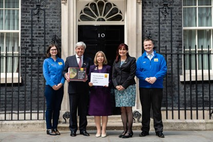 Cats Protection staff in front of 10 Downing Street London