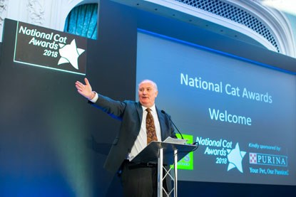 Alan Dedicoat on stage at the 2018 National Cat Awards
