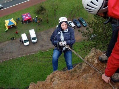 woman doing abseil at Avon Gorge