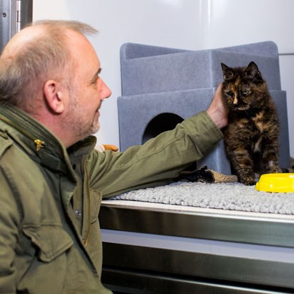 Bob Mortimer and cat Fond Margaret at Cats Protection