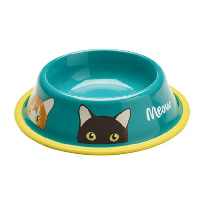 turquoise cat food bowl with cat illustration design