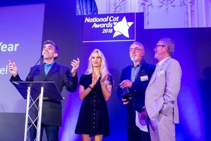 National Cat of the Year judges on stage at the 2018 National Cat Awards