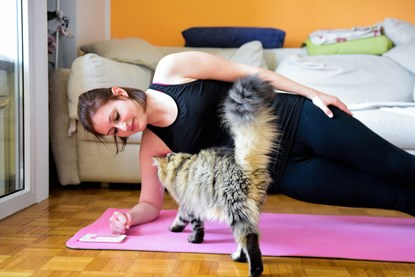 lady doing yoga on pink mat with tabby cat
