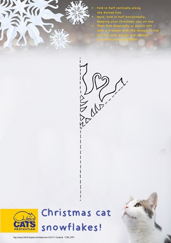 Cut out pattern for cat themed snowflakes