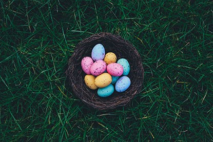 basket of colourful chocolate Easter eggs