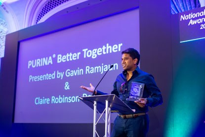 Gavin Ramjaun presenting the Purina Better Together Award at the National Cat Awards 2018