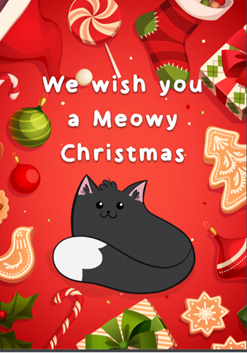 Cats Protection downloadable Christmas card – meowy design