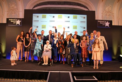 Award winners and judges on stage at the National Cat Awards 2017