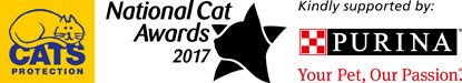Cats Protection logo, National Cat Awards 2017 logo, Purina logo