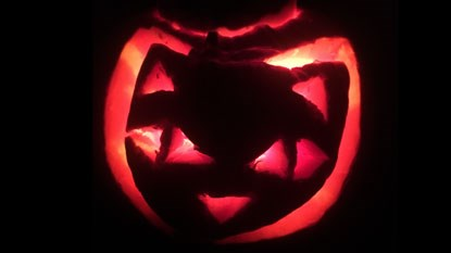 cat face carved into halloween pumpkin