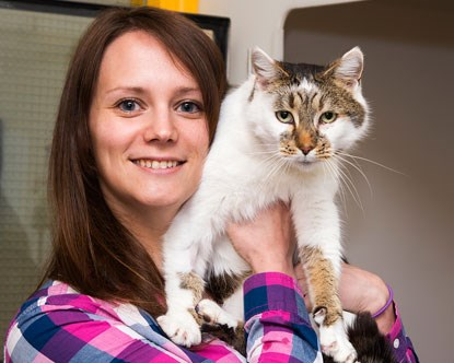 brunette woman holding white and tabby cat