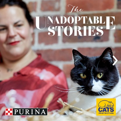 black and white cat next to owner with Cats Protection and Purina logos