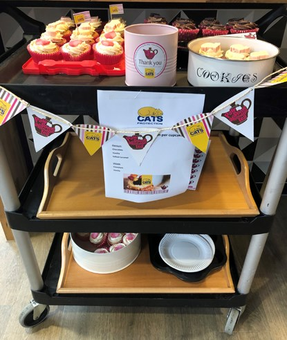 a trolley of cakes for Cats Protection's Pawsome Afternoon Tea