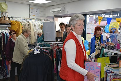 customers inside Cats Protection charity shop