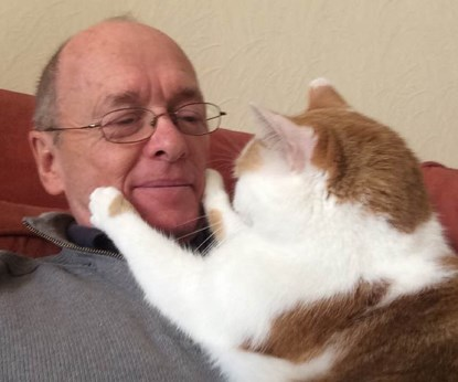 ginger and white cat sitting on man's chest with paws around his face