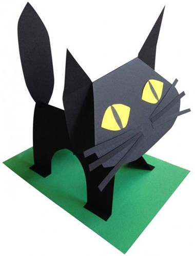 standing up black cat crafted out of paper