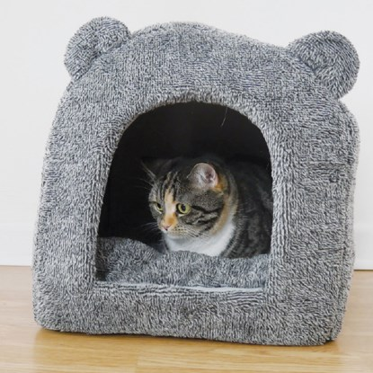 grey igloo cat bed with bear ears with tabby cat inside