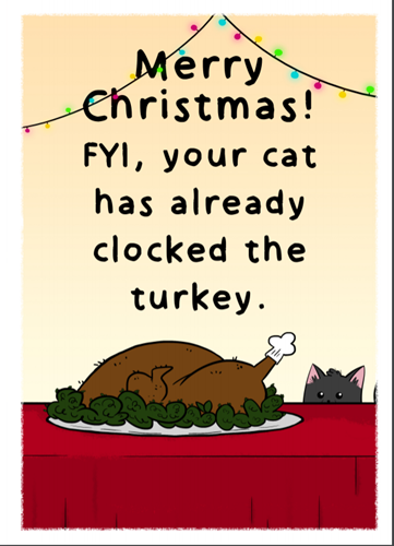 Cats Protection downloadable Christmas card – turkey design