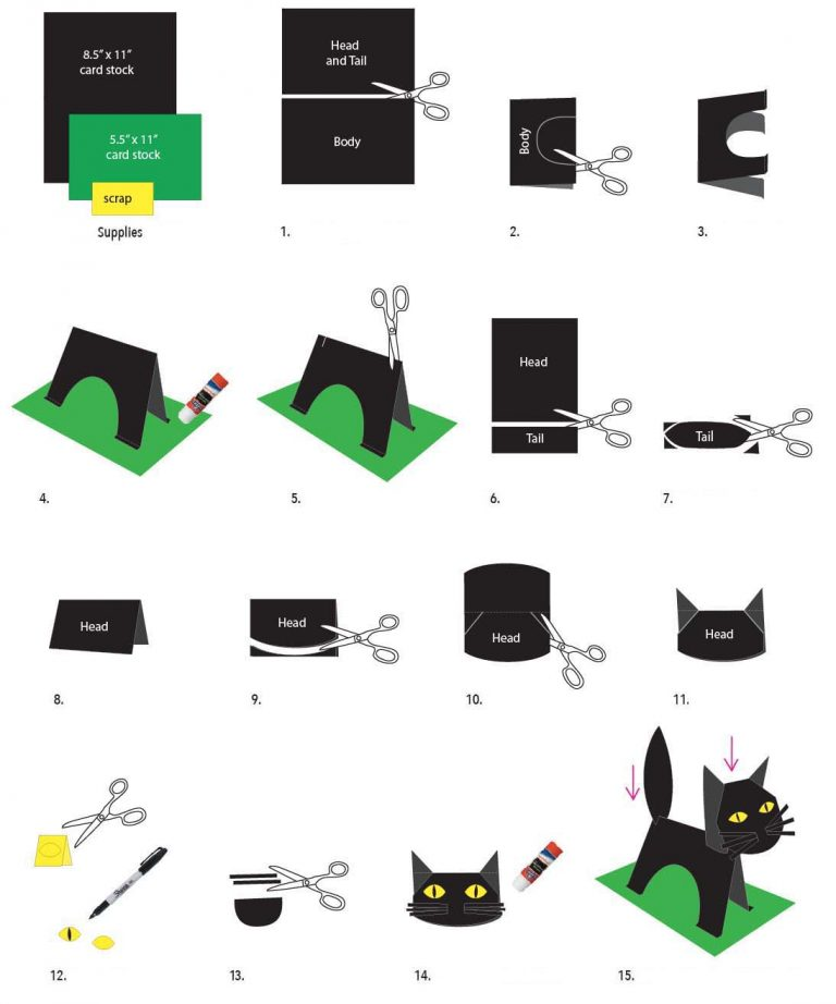 instructions on how to make a standing black cat out of paper