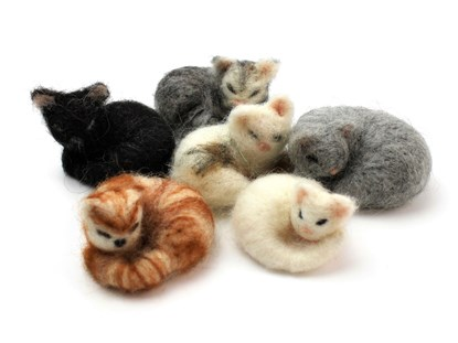 six needle felted cats in assorted colours