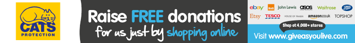 cats protection banner for give as you live. raise free donations by shopping online