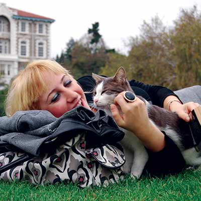 cat with owner on the grass