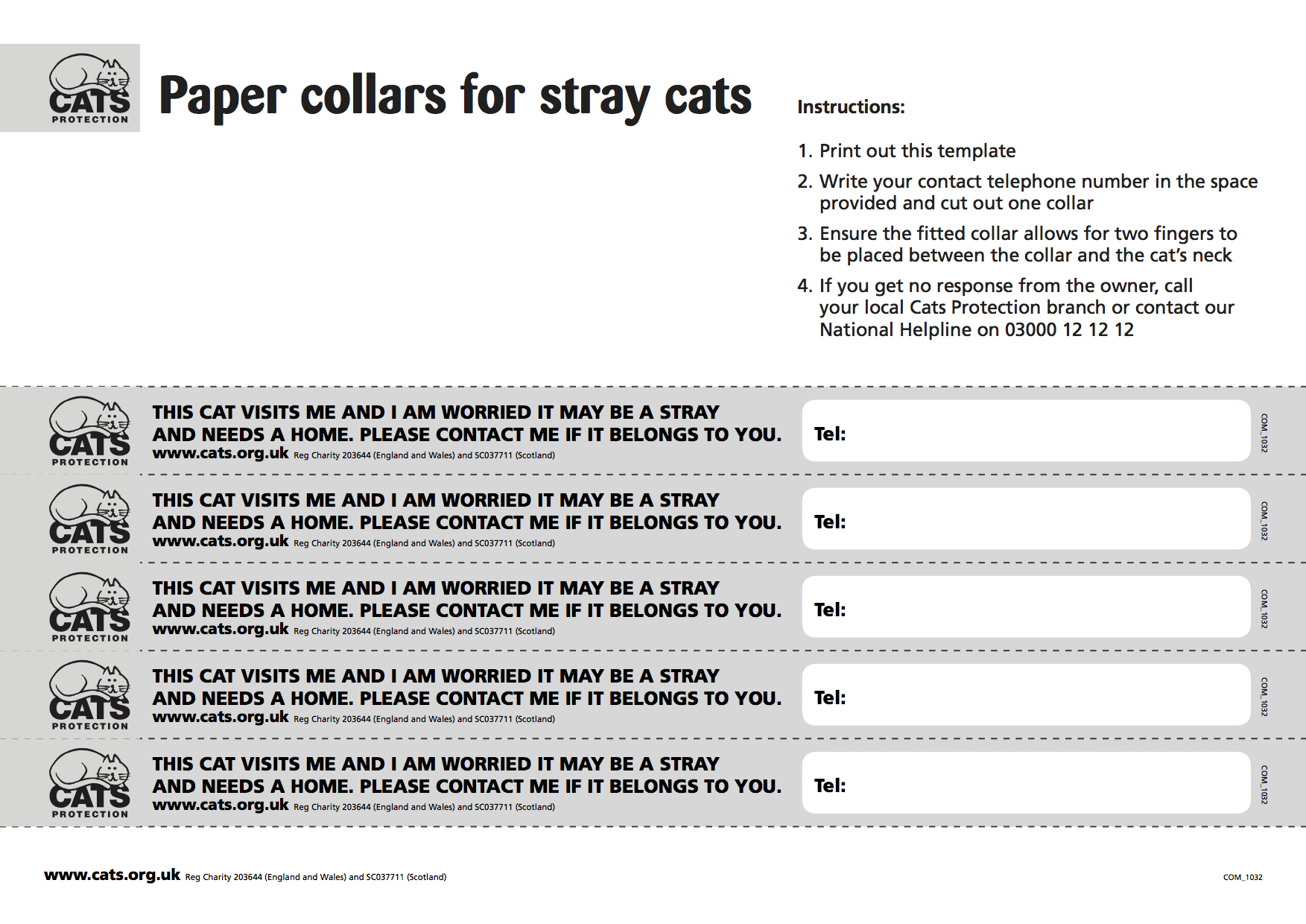 Cats Protection Printable Stray Collars