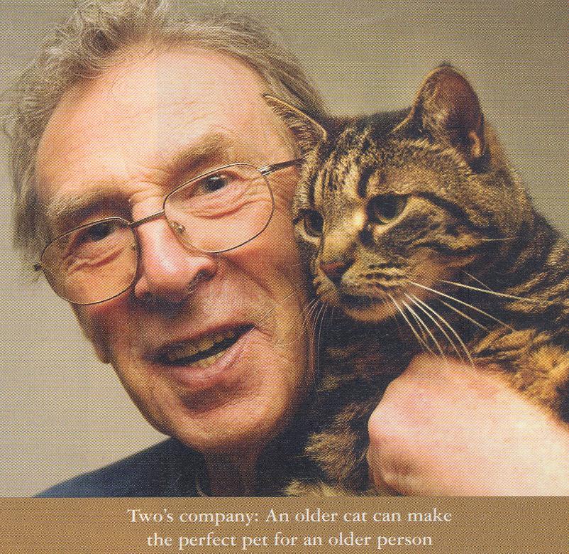 Older man with older cat