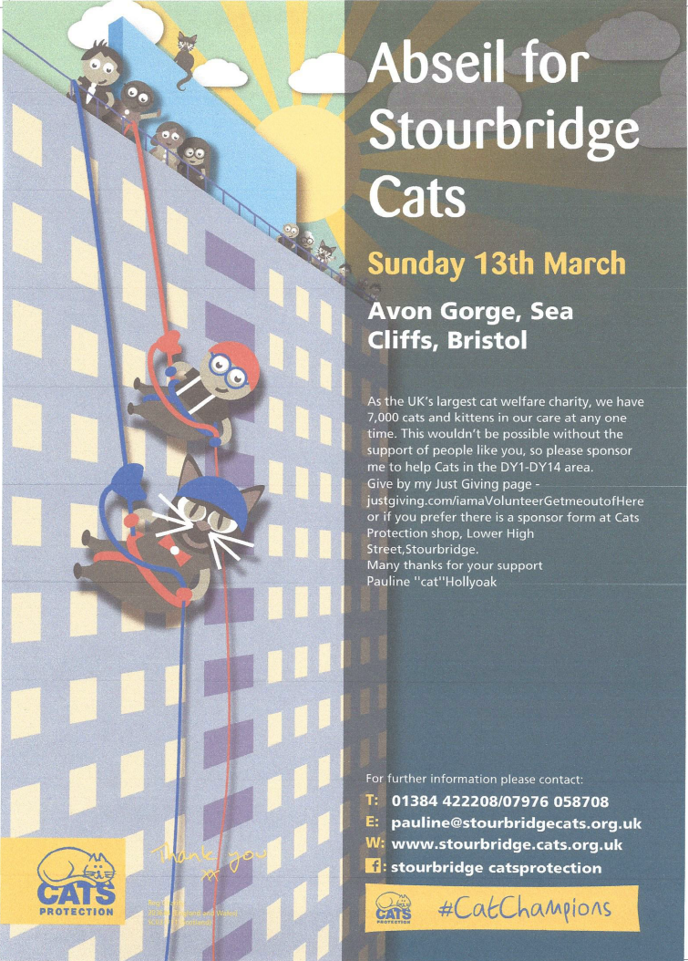 Abseil Fundraising Event for Stourbridge CP 13th March 2016