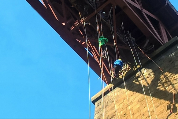 Forth rail abseilers