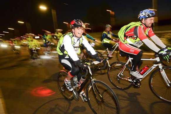 Cyclists in Bristol Nightrider