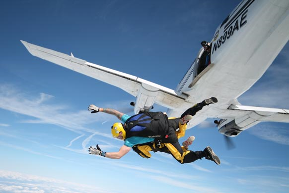 Skydive exiting plane