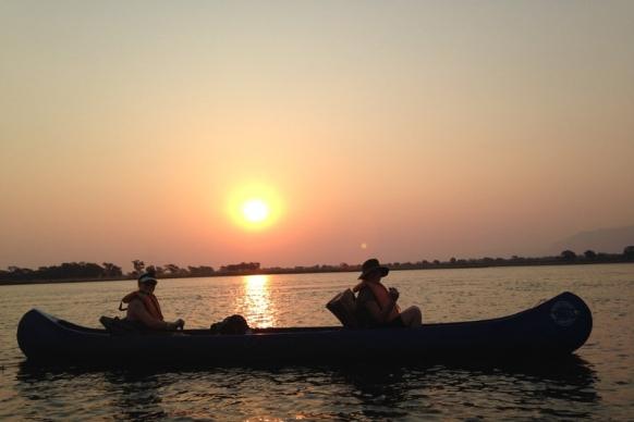 Zambia canoe sunset