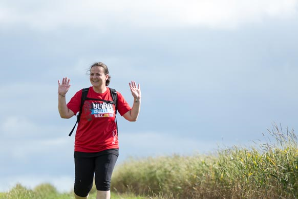 Fundraising participant on Cotswold way