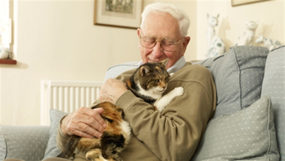 elderly man with cat in armchair