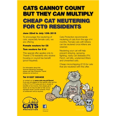 Cats Protection Thanet Summer Neutering Campaign