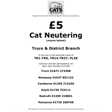 Just £5 to neuter your cat