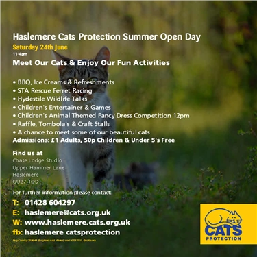 Haslemere Adoption Centre Open Day will be held on Saturday 24th of June.