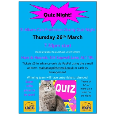 Quiz Night, 26th March, Hare & Hound 7.30pm