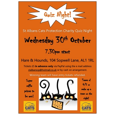 Quiz Night 30th October 7.30pm, Hare & Hounds