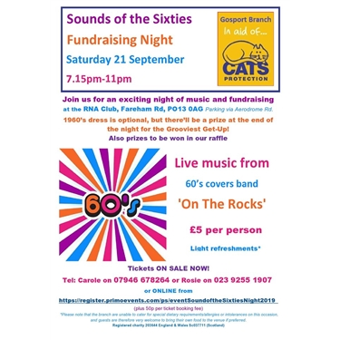 Buy tickets now for Sounds of the Sixties Night on 21/09/19