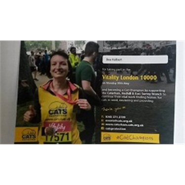 Fundraiser Beata runs marathon for Cats Protection