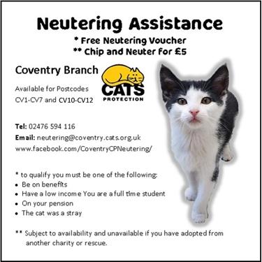 Neutering Assistance - July 2021